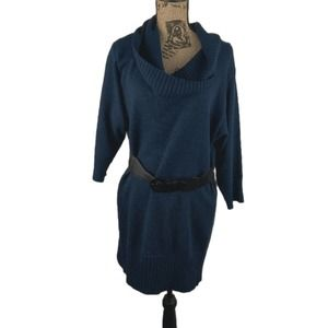 Alyx large blue cowl neck sweater dress with belt